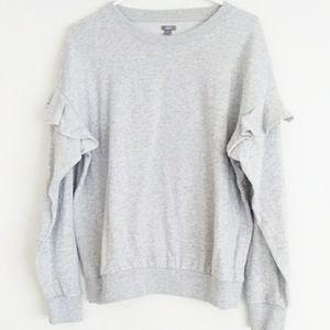 Aerie grey sweatshirt with ruffle sleeves sz L